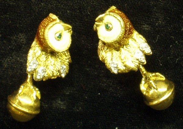 15: 18K TIFFANY ENAMEL DIAMOND OWL CUFFLINKS