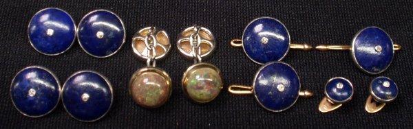 19: GOLD, LAPIS & DIAMOND DRESS SET, OPAL CUFFLINKS