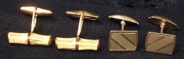 20: 14K BAMBOO FORM CUFFLINKS & PR OF 10K GOLD LINKS