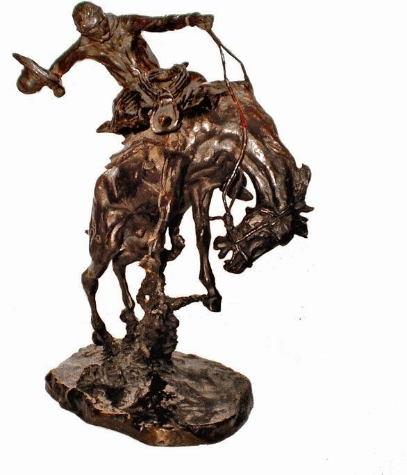 151: C.M. RUSSELL   - A BRONC TWISTER BRONZE