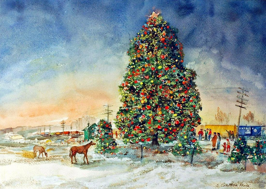 S. CAROTHERS RHODE CHRISTMAS WATERCOLOR