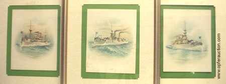 1: U.S. BATTLESHIP LITHOGRAPHS - MAINE IOWA MASS