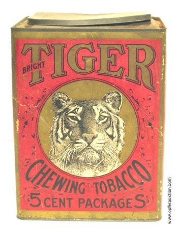 13: TIGER CHEWING TOBACCO CARDBOARD CONTAINER