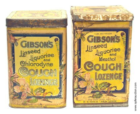 14: GIBSON'S' COUGH LOZENGE TINS - LOT OF (2)