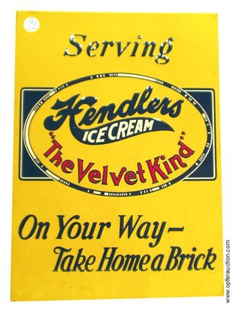 22: HENDLER'S ICE CREAM TIN SIGN