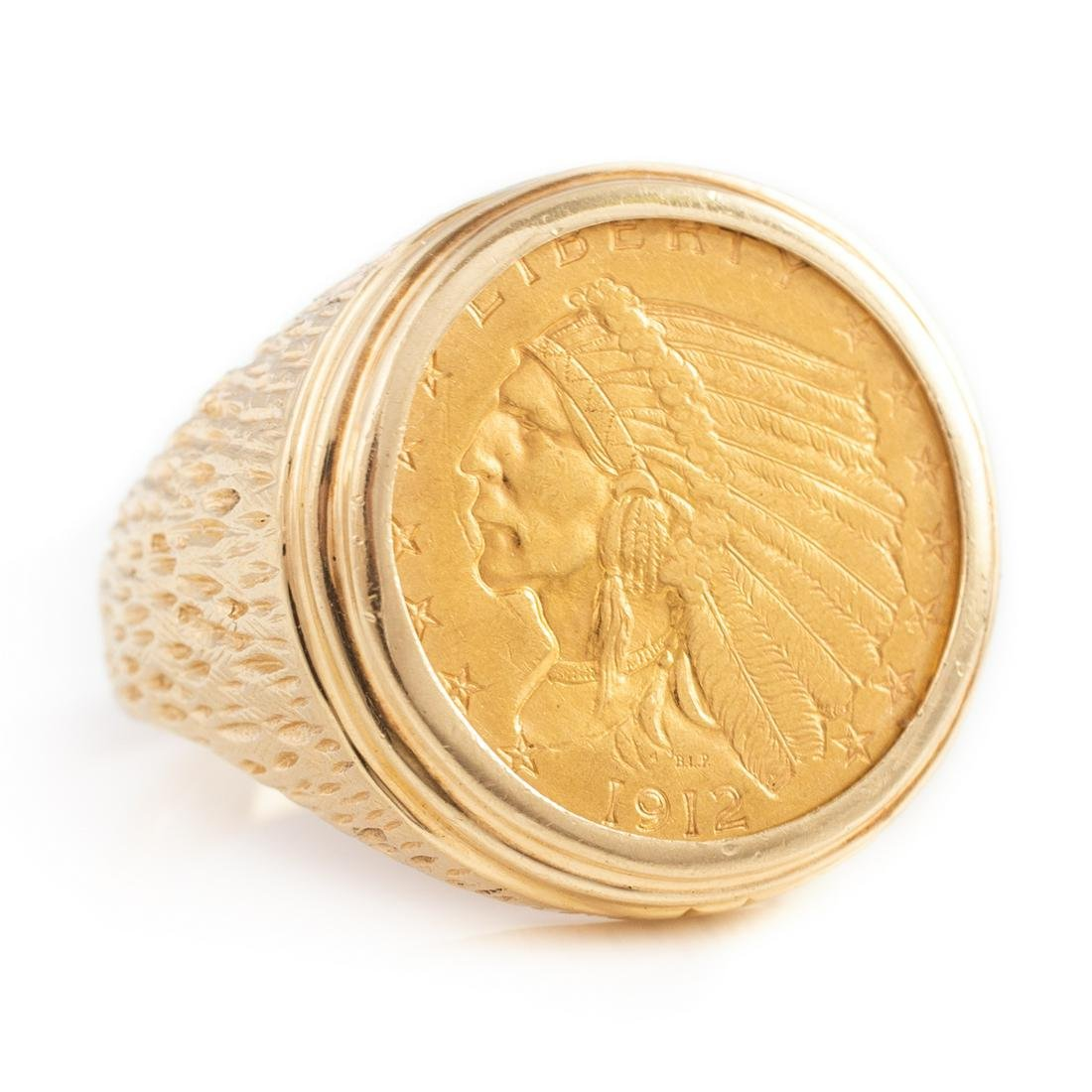 14KT YELLOW GOLD COIN RING