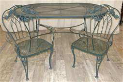 WROUGHT IRON TABLE  CHAIRS 7PCS