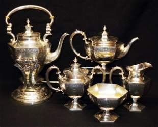 STERLING SILVER COFFEE AND TEA SERVICE (6 PIECES)