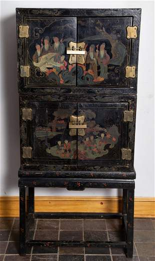 ANTIQUE CHINOISERIE CABINET-STACKING