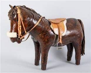 CHILDS LEATHER PONY/FOOT STOOL