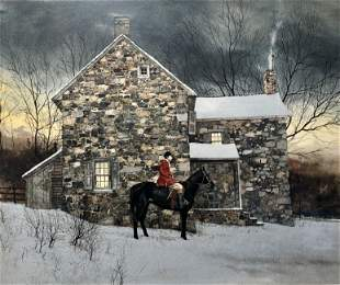 PETER SCULTHORPE EQUESTRIAN WATERCOLOR