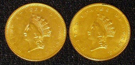 22: (2) 1854 1 DOLLAR GOLD COINS