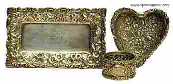 169: STERLING REPOUSSE DRESSER ITEMS (3)