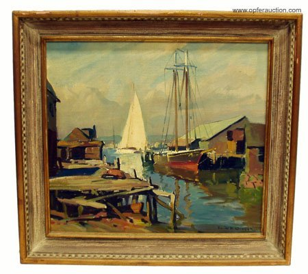 209: E. GRUPPE HARBOR PAINTING