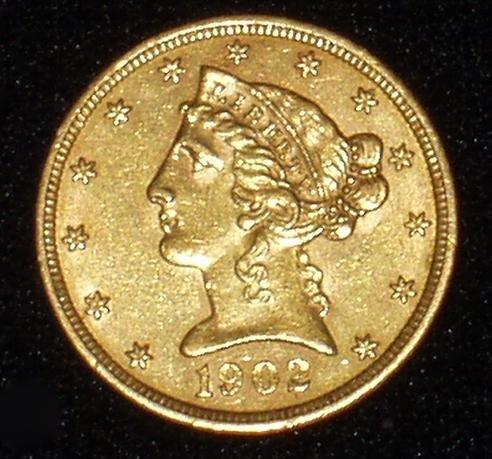 20A: 1902 5 DOLLAR GOLD COIN