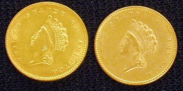 21: (2) 1854 1 DOLLAR GOLD COINS