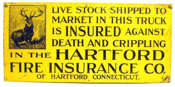 2: HARTFORD FIRE INSURANCE TIN SIGN