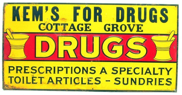 4: DRUGSTORE TIN SIGN