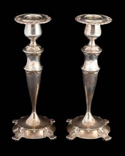 PAIR TIFFANY STERLING CANDLESTICKS