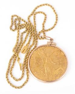 MEXICAN GOLD COIN NECKLACE