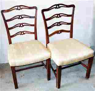(6) CHIPPENDALE MAHOGANY DINING CHAIRS