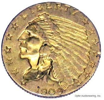 14: 1909 $2 1/2 DOLLAR GOLD COIN