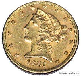 15: 1881 $5 DOLLAR GOLD COIN