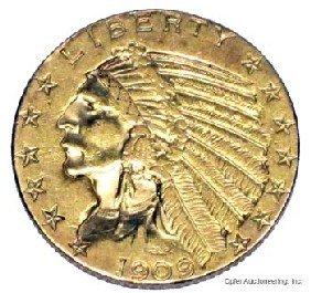 1909 $5 DOLLAR GOLD COIN
