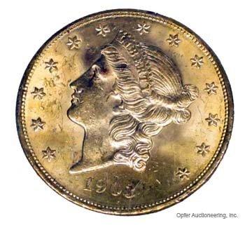 19: 1903 $20 GOLD COIN