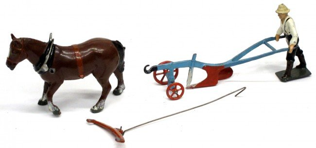 13: BRITAINS HORSE DRAWN PLOW with HORSE & MAN