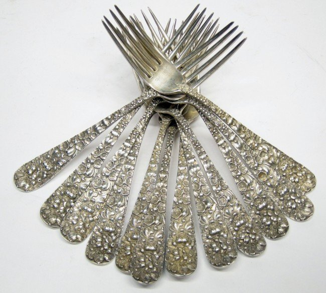 24: STIEFF STERLING ROSE LUNCHEON FORKS (12)