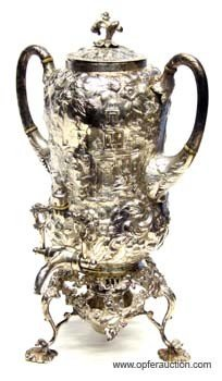 35: KIRK REPOUSSE STERLING HOT WATER URN on STAND