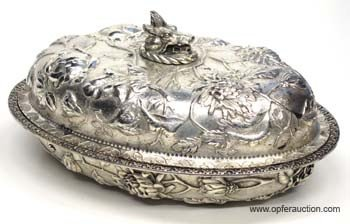 42: KIRK REPOUSSE STERLING VEGETABLE DISH