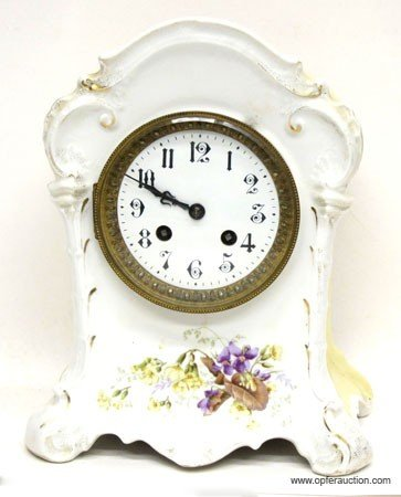 6: FRENCH CHINA MANTLE CLOCK