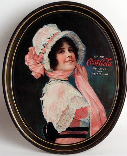 """7: 1914 Oval Coca-Cola Serving Tray Featuring """"Betty"""""""