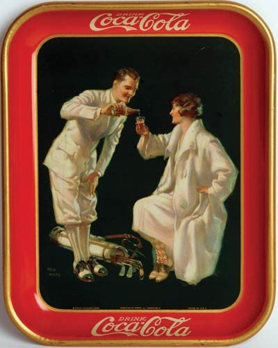 14: 1926 COCA-COLA SERVING TRAY FEATURING A GOLFING COU