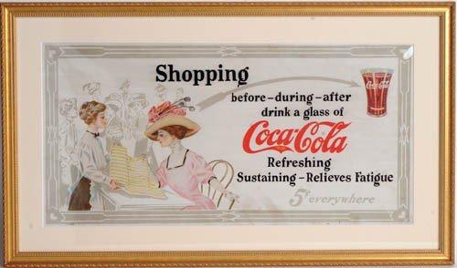 16: C.1912 COCA-COLA CARDBOARD TROLLEY SIGN