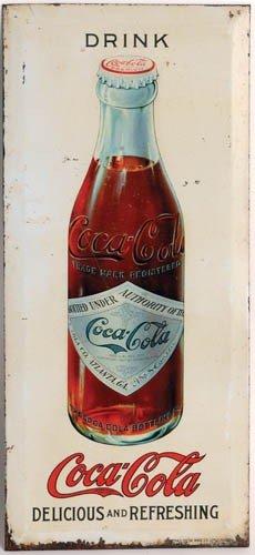 35: C.1910 COCA-COLA TIN OVER CARDBOARD HANGING SIGN