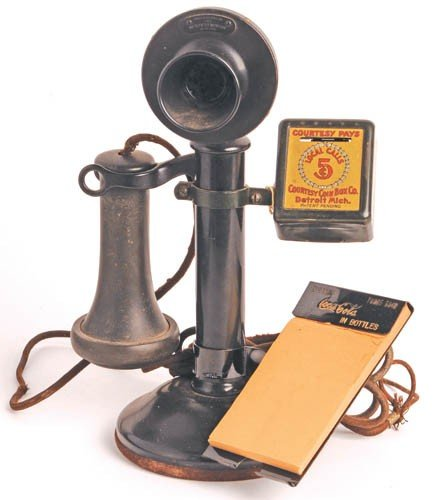67: 1920's Coca-Cola Notepad Holder - Candlestick Phone