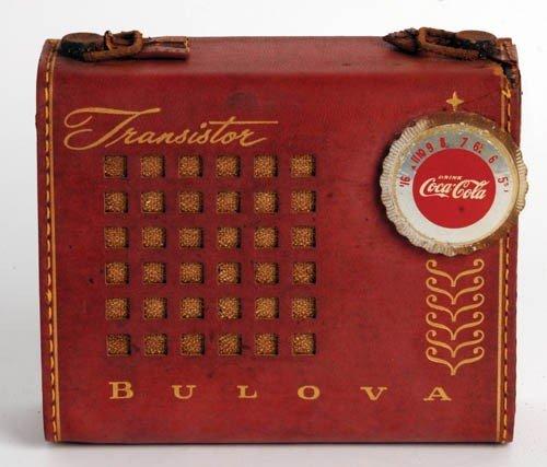 94: 1950'S COCA-COLA BULOVA TRANSISTOR RADIO - LEATHER