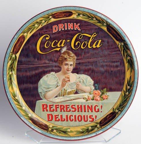 """248: 1900 COCA-COLA HILDA CLARK 9 ¼"""" SERVING TRAY"""