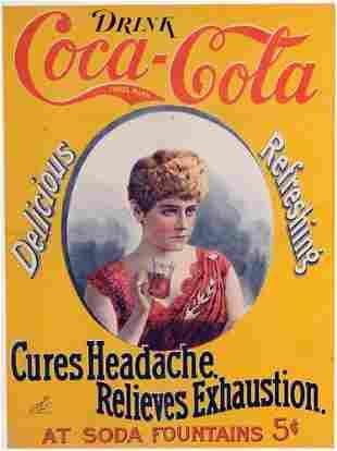 326: C.1896 COCA-COLA CAMEO PAPER SIGN
