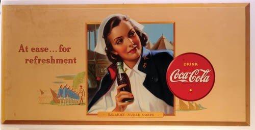 381: 1942 COCA-COLA ARMY NURSE CARDBOARD SIGN