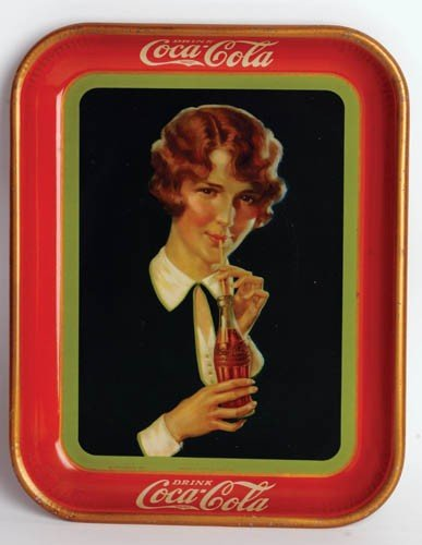 450: 1928 Coca-Cola serving tray for bottle sales