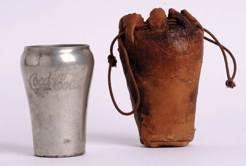 453: 1930's Coca-Cola Pewter Glass w/ Leather Pouch