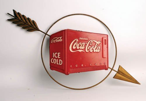 524: 1938 Coca-Cola Kay Displays Cooler & Arrow sign