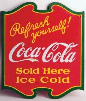 1938 Coca-Cola Porcelain Flange Sign