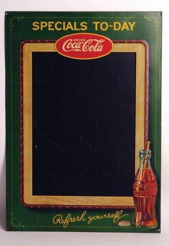 549: 1929 Coca-Cola tin embossed menu board