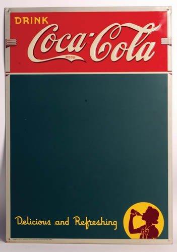 551: 1939 Coca-Cola tin menu board