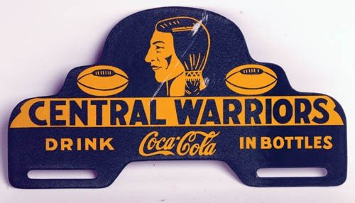 555: 1930's Coca-Cola auto license plate sign